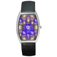 Stars Patterns Christmas Background Seamless Barrel Style Metal Watch