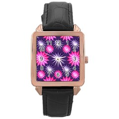 Stars Patterns Christmas Background Seamless Rose Gold Leather Watch
