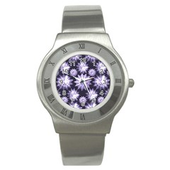 Stars Patterns Christmas Background Seamless Stainless Steel Watch by Nexatart