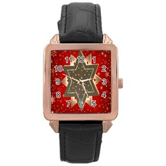 Star Wood Star Illuminated Rose Gold Leather Watch