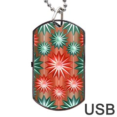 Stars Patterns Christmas Background Seamless Dog Tag Usb Flash (one Side)