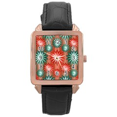 Stars Patterns Christmas Background Seamless Rose Gold Leather Watch  by Nexatart