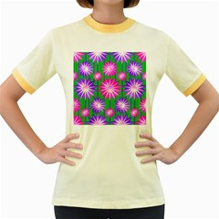 Stars Patterns Christmas Background Seamless Women s Fitted Ringer T-shirts by Nexatart