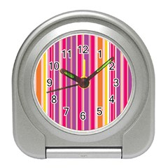 Stripes Colorful Background Pattern Travel Alarm Clocks