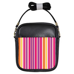 Stripes Colorful Background Pattern Girls Sling Bags by Nexatart