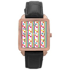 Stripes Polka Dots Pattern Rose Gold Leather Watch