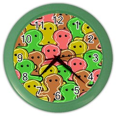 Sweet Dessert Food Gingerbread Men Color Wall Clocks by Nexatart