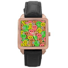 Sweet Dessert Food Gingerbread Men Rose Gold Leather Watch