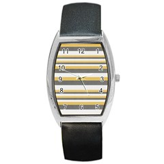 Textile Design Knit Tan White Barrel Style Metal Watch
