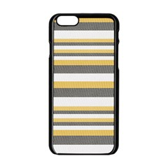Textile Design Knit Tan White Apple Iphone 6/6s Black Enamel Case