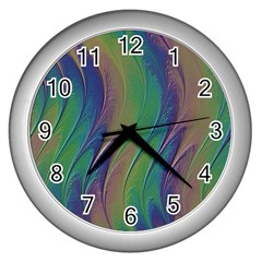 Texture Abstract Background Wall Clocks (silver)  by Nexatart