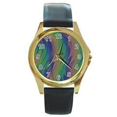Texture Abstract Background Round Gold Metal Watch