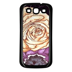 Texture Flower Pattern Fabric Design Samsung Galaxy S3 Back Case (black) by Nexatart
