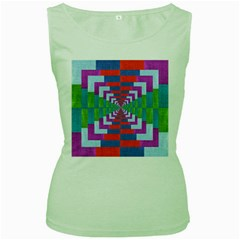 Texture Fabric Textile Jute Maze Women s Green Tank Top by Nexatart