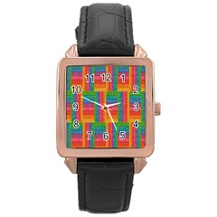 Texture Surface Rainbow Festive Rose Gold Leather Watch  by Nexatart