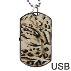Tiger Animal Fabric Patterns Dog Tag Usb Flash (two Sides)