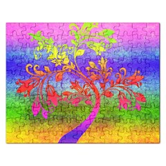 Tree Colorful Mystical Autumn Rectangular Jigsaw Puzzl by Nexatart