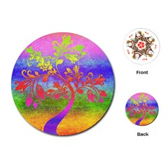 Tree Colorful Mystical Autumn Playing Cards (round)  by Nexatart