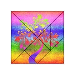 Tree Colorful Mystical Autumn Acrylic Tangram Puzzle (4  X 4 ) by Nexatart