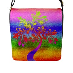 Tree Colorful Mystical Autumn Flap Messenger Bag (l)  by Nexatart