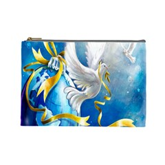 Turtle Doves Christmas Cosmetic Bag (large)