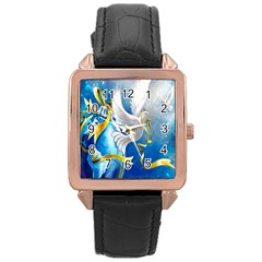 Turtle Doves Christmas Rose Gold Leather Watch
