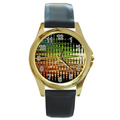 Triangle Patterns Round Gold Metal Watch by Nexatart