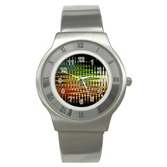 Triangle Patterns Stainless Steel Watch by Nexatart