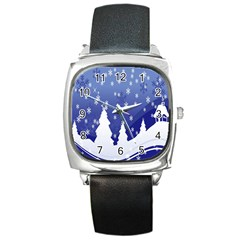 Vector Christmas Design Square Metal Watch