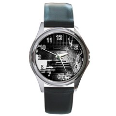Urban Scene Street Road Busy Cars Round Metal Watch by Nexatart