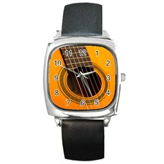 Vintage Guitar Acustic Square Metal Watch