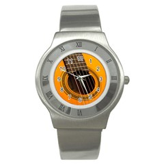 Vintage Guitar Acustic Stainless Steel Watch