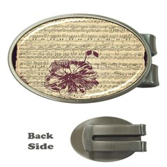 Vintage Music Sheet Song Musical Money Clips (oval)  by Nexatart