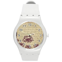 Vintage Music Sheet Song Musical Round Plastic Sport Watch (m) by Nexatart