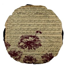 Vintage Music Sheet Song Musical Large 18  Premium Flano Round Cushions by Nexatart
