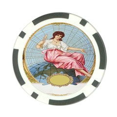 Vintage Art Collage Lady Fabrics Poker Chip Card Guard by Nexatart