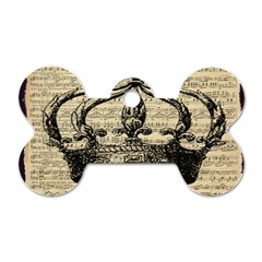 Vintage Music Sheet Crown Song Dog Tag Bone (two Sides) by Nexatart