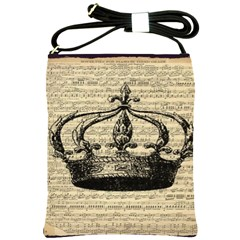 Vintage Music Sheet Crown Song Shoulder Sling Bags by Nexatart