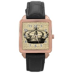 Vintage Music Sheet Crown Song Rose Gold Leather Watch