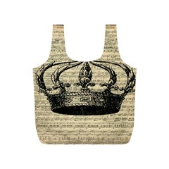 Vintage Music Sheet Crown Song Full Print Recycle Bags (s)  by Nexatart