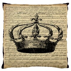 Vintage Music Sheet Crown Song Large Flano Cushion Case (two Sides)