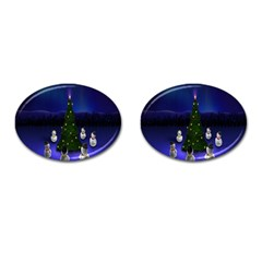 Waiting For The Xmas Christmas Cufflinks (oval) by Nexatart