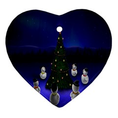 Waiting For The Xmas Christmas Heart Ornament (two Sides) by Nexatart