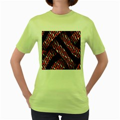 Weave And Knit Pattern Seamless Women s Green T Shirt