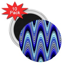 Waves Wavy Blue Pale Cobalt Navy 2 25  Magnets (10 Pack)  by Nexatart