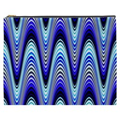 Waves Wavy Blue Pale Cobalt Navy Cosmetic Bag (xxxl)