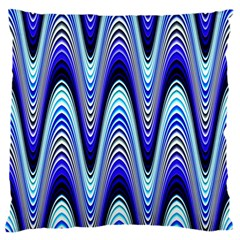 Waves Wavy Blue Pale Cobalt Navy Large Flano Cushion Case (one Side)