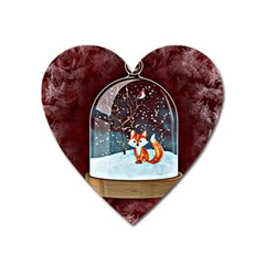 Winter Snow Ball Snow Cold Fun Heart Magnet by Nexatart