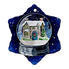 Winter Snow Ball Snow Cold Fun Snowflake Ornament (two Sides) by Nexatart