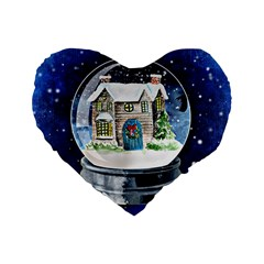 Winter Snow Ball Snow Cold Fun Standard 16  Premium Heart Shape Cushions by Nexatart